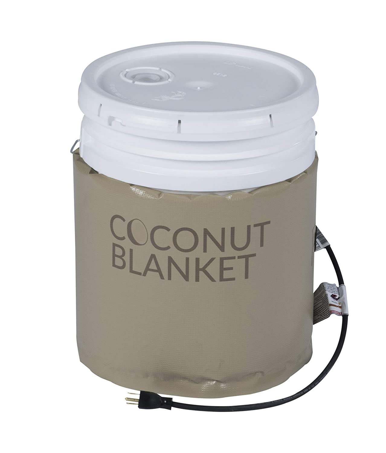"Powerblanket CN05 5 gal Coconut Oil Bucket Heating Blanket, Fixed Thermostat, 100 Degree F, 120V, 120W, 0.75"", Tan"