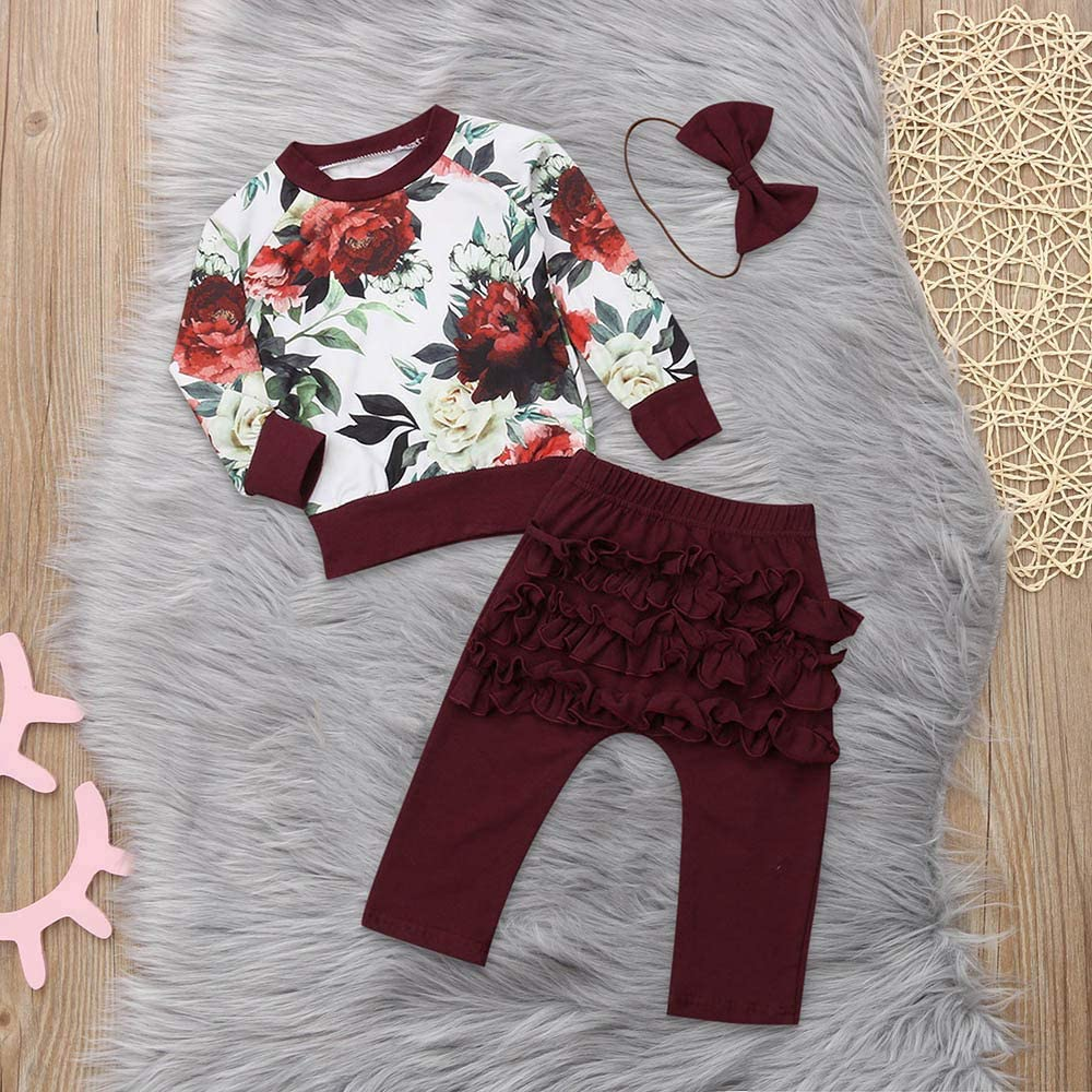 Woaills-Tops 2018 New!!Newborn Infant Baby Outfit Clothes,Girls Print Romper Jumpsuit Headband Pants