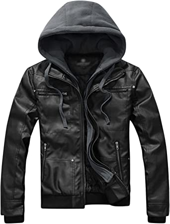 Springrain Mens Casual Sherpa Lining Padded Coat Jacket with Removable Hood