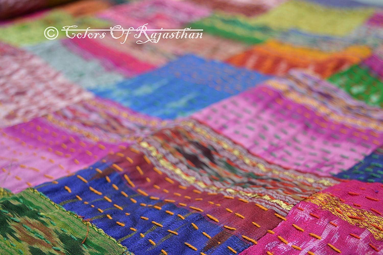 Colors Of Rajasthan COR's Hippie Bedspreads Kantha Quilt, Kantha Blanket Bedspread, Patch Kantha Throw, Twin Kantha, Kantha Rallies Indian Sari Quilt (Twin)