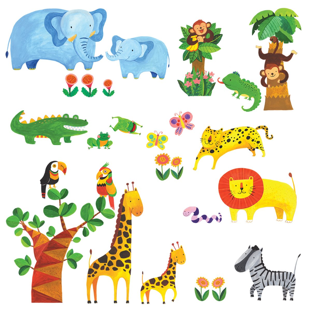 Decowall DM-1409 Tropical Jungle Kids Wall Stickers Wall Decals Peel and Stick Removable Wall Stickers for Kids Nursery Bedroom Living Room