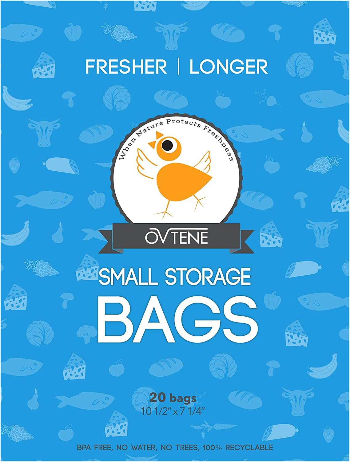 OVTENE Food Storage Bags for Cheese, Meat, and Produce - Keeps Food Fresher Longer (20 Small bags 10.5