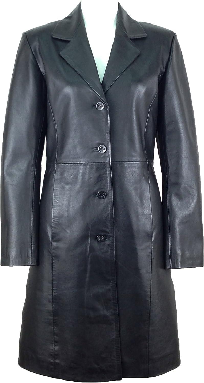 UNICORN Mujeres Genuino real cuero chaqueta Estilo clásico Abrigo largo longitud Negro #AK