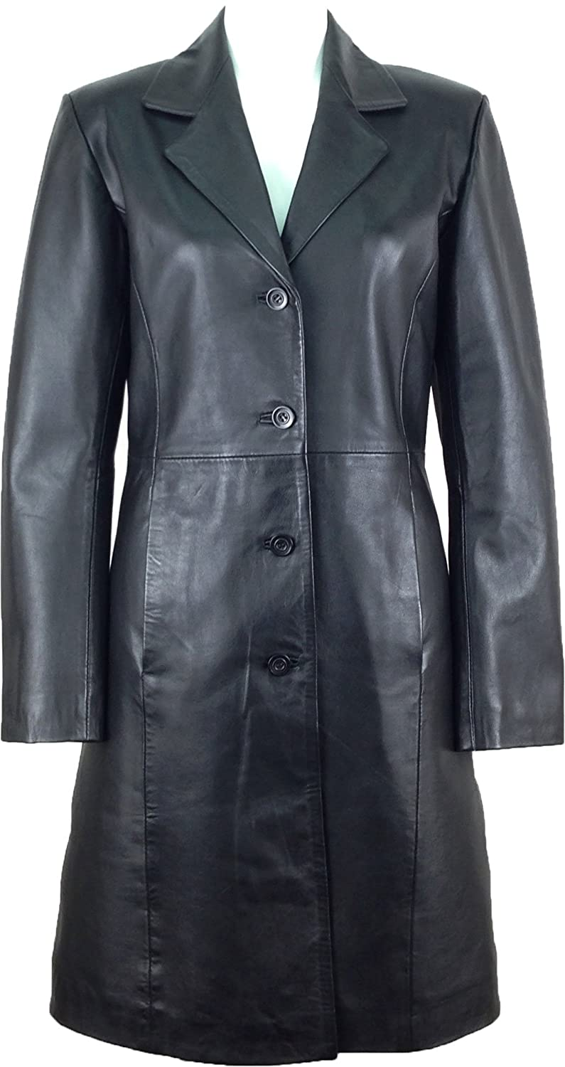 UNICORN Womens Classic Long Coat Real Leather Jacket Black  AK   Amazon.co.uk  Clothing 9a603e352