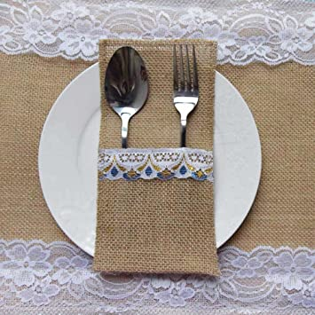 AmaJOY 10pcs 4x8 inch Burlap Lace PouchNew Style Lace Utensil Holders Silverware Napkin Holders & Amazon.com: AmaJOY 10pcs 4x8 inch Burlap Lace Pouch New Style Lace ...