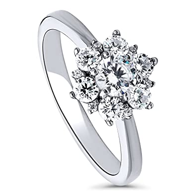 9671d2f09ed0d BERRICLE Rhodium Plated Sterling Silver Cubic Zirconia CZ Flower Promise  Ring