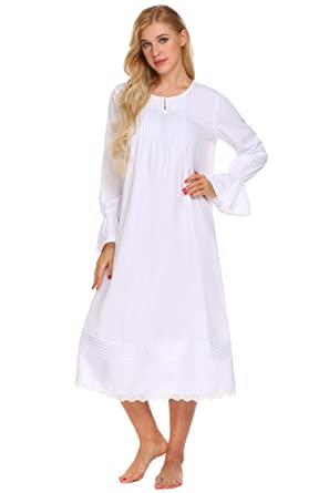 Image Unavailable. Image not available for. Colour  Ekouaer Women Ladies Long  Sleeve Nightdress Victorian Vintage Nightgown Nightwear Midi Dress With Lace 6acf741f3