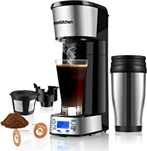 Programmable Singles Serve Coffee Makers With Portable Travel Mug Compatible with K Cup Pod & Coffee Ground, Mini 2 In 1 Coffee Maker Machines 14 Oz Reservoir Brew Strength Control Small Coffee Brewer Machine for office Home Kitchen(BZ-US-CM8006)