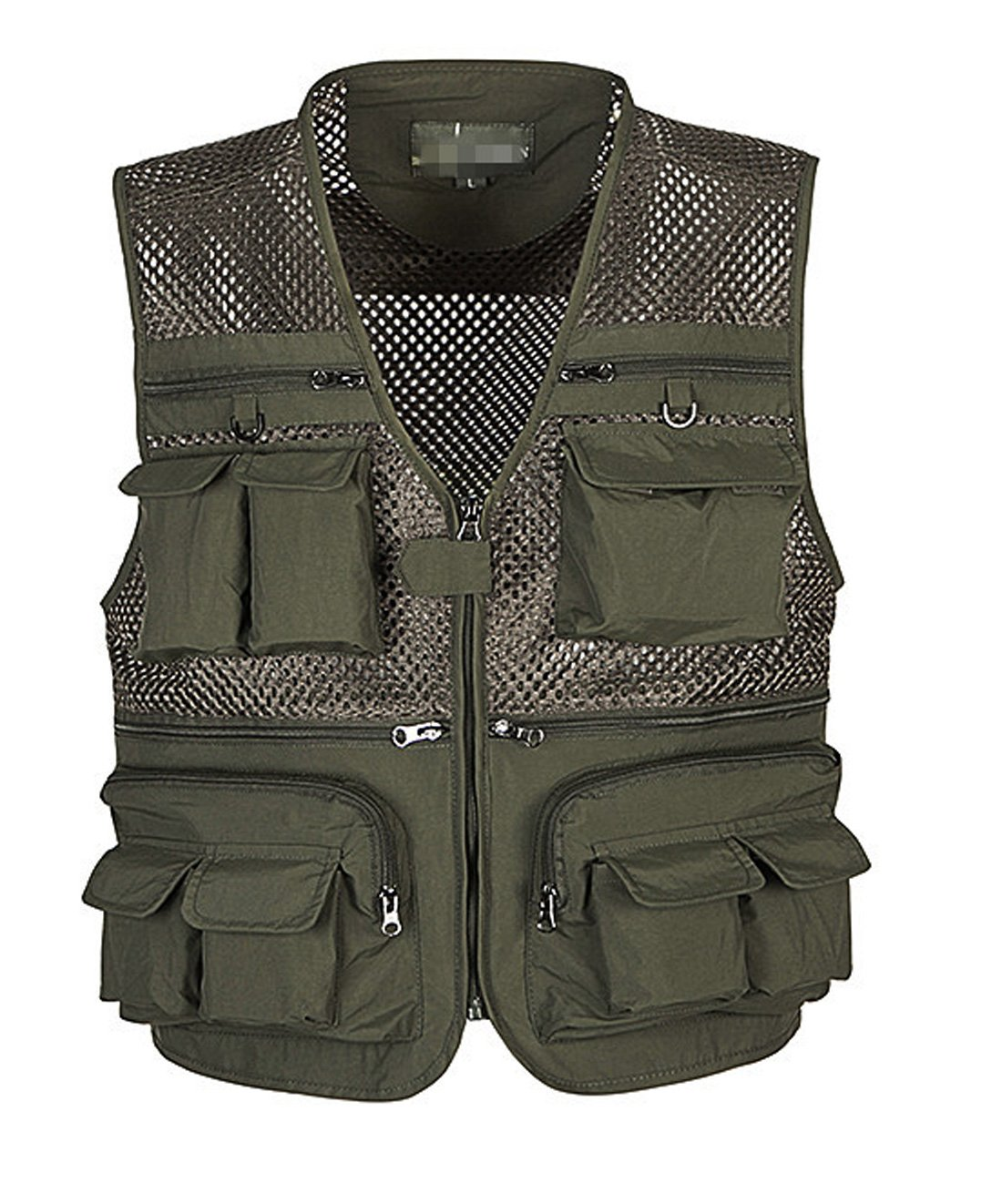 Gihuo Men's Summer Cotton Leisure Outdoor Pockets Fish Photo Journalist Vest Plus Size (Small, Army Green-mesh)
