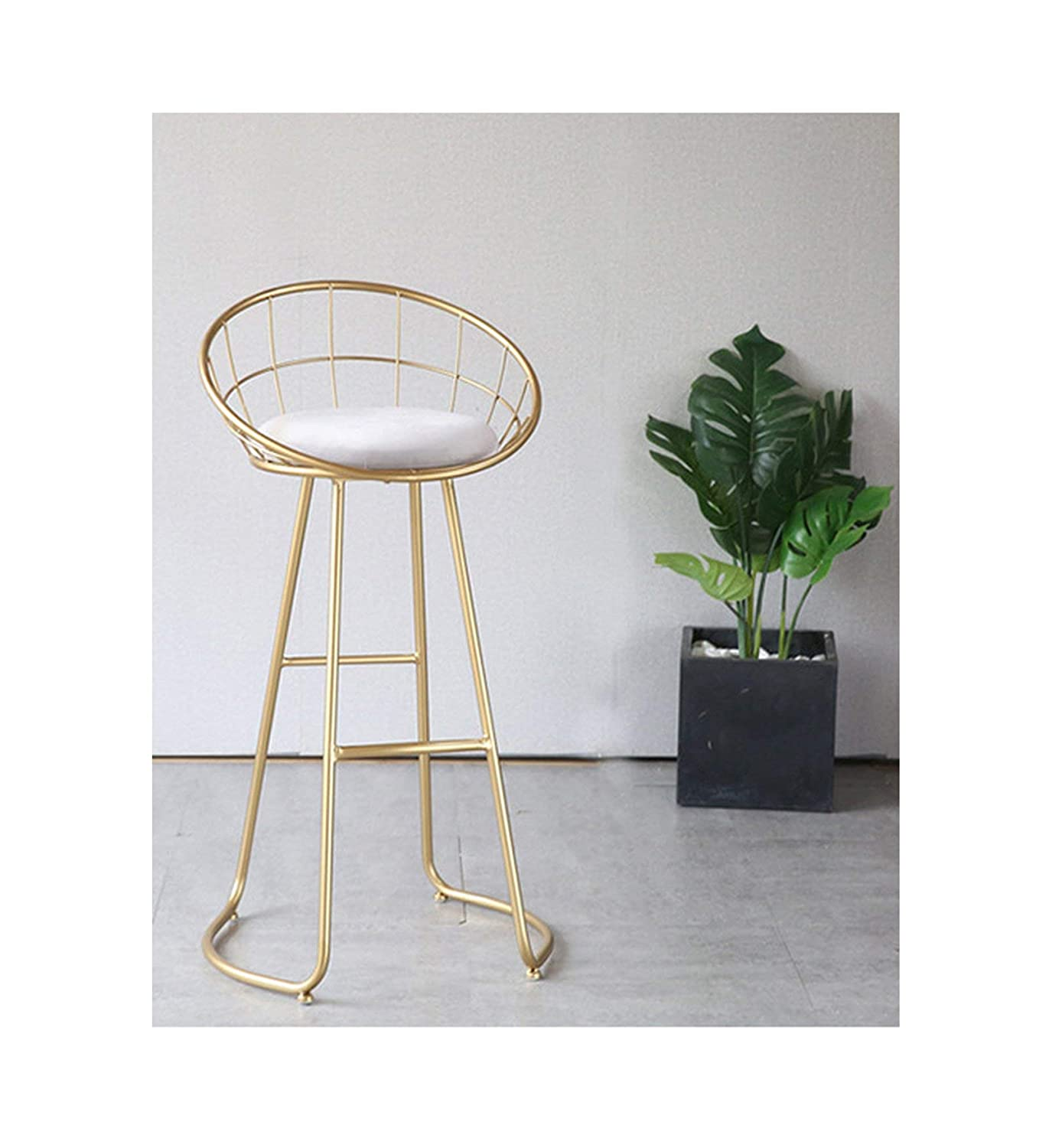 gold height 75CM Metal Creative Nordic Bar Stool Bar Chair Fashion Counter Stool High Stool Simple Dining Chair,gold Height 65CM