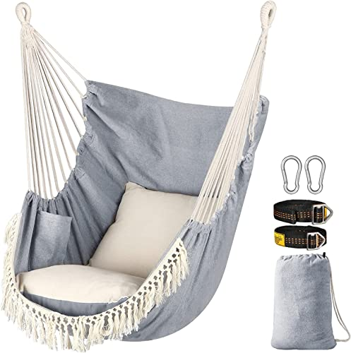 Chihee Hammock Chair Hanging Swing 2 Seat Cushions Included,Strong Webbing Straps and Hooks