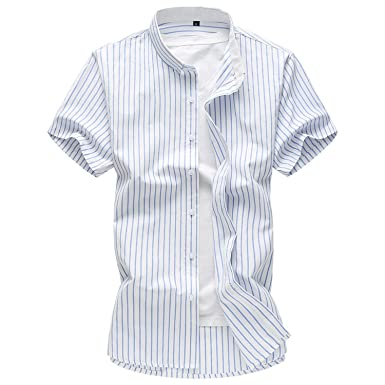 386882565c58 Rising ON Shirts Men s Casual Thin Striped Shirt Summer New Male ...