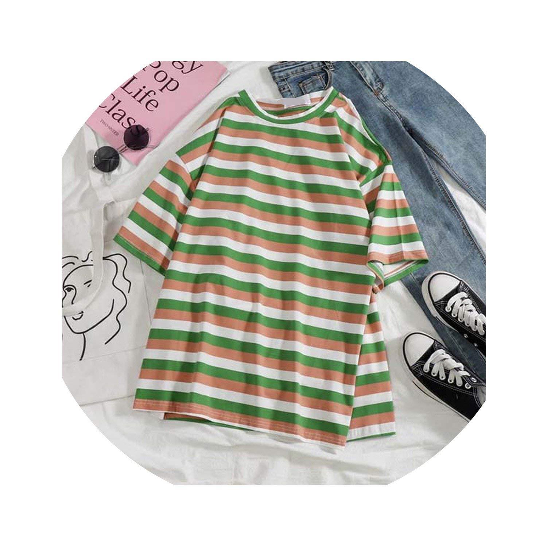 Vintage Ulzzang Girlfriends Stripe Printed t Shirts Summer Loose Short Sleeve tee Tops