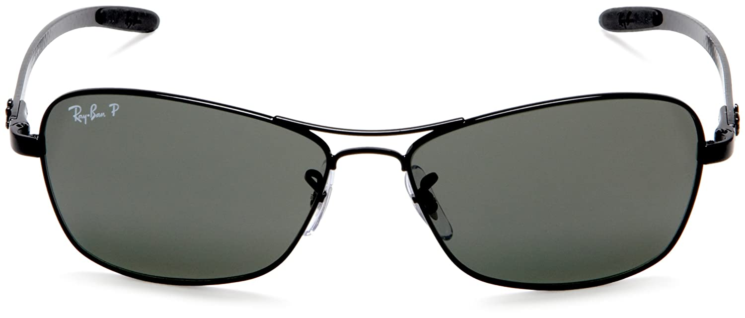 759ed367437 Amazon.com  Ray-Ban RB8302 - BLACK Frame CRYSTAL POLAR GREEN Lenses 58mm  Polarized  Clothing