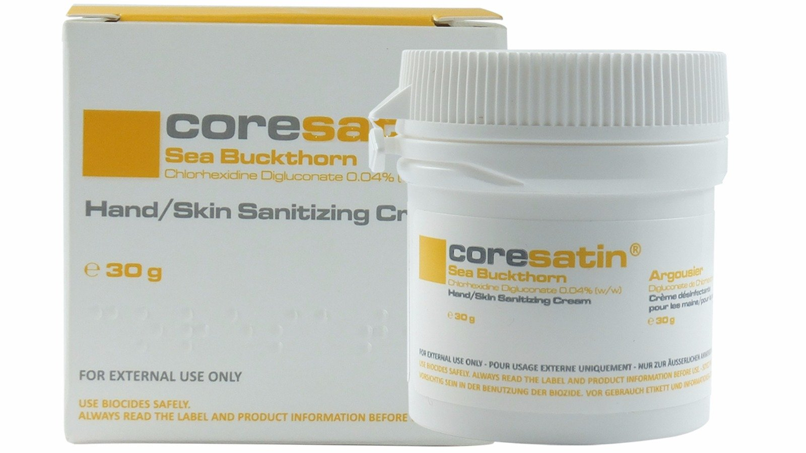Coresatin Sea Buckthorn Hand Skin Sanitizing Cream; For all types of dry and sensitive skin and for those who may be prone to Dermatitis, Cellulitis, Eczema, Rosacea, Shingles, Stoma