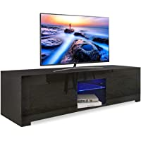 Dripex LED TV Stand Unit for Living Room - High Gloss Entire Front - 130 cm - TV Table Bench Cabinet Cupboard - Black