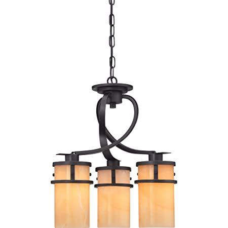 Quoizel KY5503IB Kyle Faux Alabaster Downlight Mini Chandelier, 3-Light, 300 Watts, Imperial Bronze 20 H x 17 W
