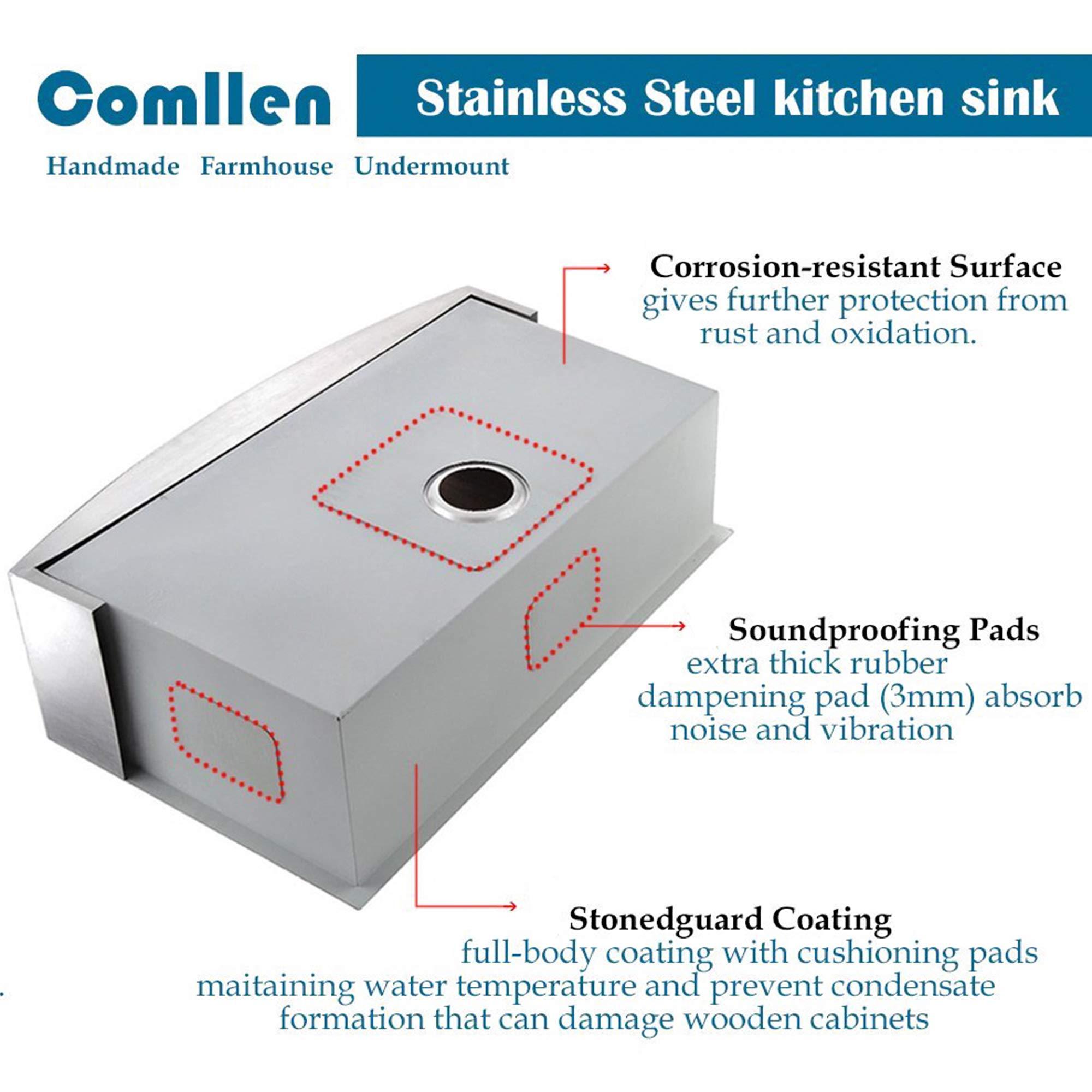 Comllen 33 Inch 304 Stainless Steel Farmhouse Kitchen Sink, Single Bowl 16 Gauge 10 Inch Deep Handmade Undermount Apron Kitchen Sink by Comllen (Image #5)