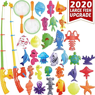 XEDUO Magnetic Fishing Pool Toys Game for Kids - Water Table Bath-tub Kiddie Party Toy with Pole Rod Net Plastic Floating Fish Toddler Color Ocean Sea Animals Age 3 4 5 6 Year Old: Toys & Games