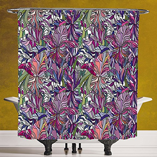 Stylish Shower Curtain 3.0 by SCOCICI [ Floral,Tropical Jungle Rainforest Artistic Abstraction Narcissus Iris Vintage Style Nature Decorative,Multicolor ] Machine Washable,Shower Hooks are - Style Gomez New Selena