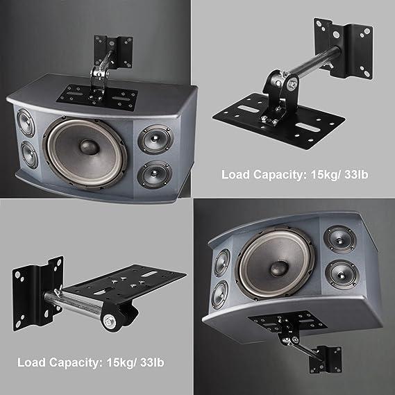 10 kg Longueur r/églable r/églable Tsss 1 Paire de Supports universels pour Haut-parleurs Support Mural pour Enceintes Enceintes Noir Charge Max