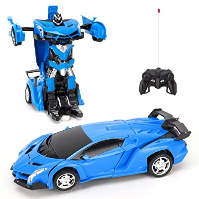 FIGROL Gainer Transform Car Robot, Robot Deformation Car Model Toy for Children, Transforming Robot Remote Control Car with One Button Transformation & 360 Speed Drifting 1:18 Scale: Toys & Games