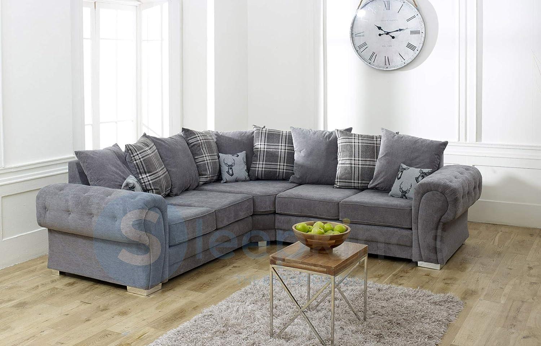 Sleepkings Verona 2c2 Fabric Double Corner Sofa Grey Amazon Co Uk Kitchen Home