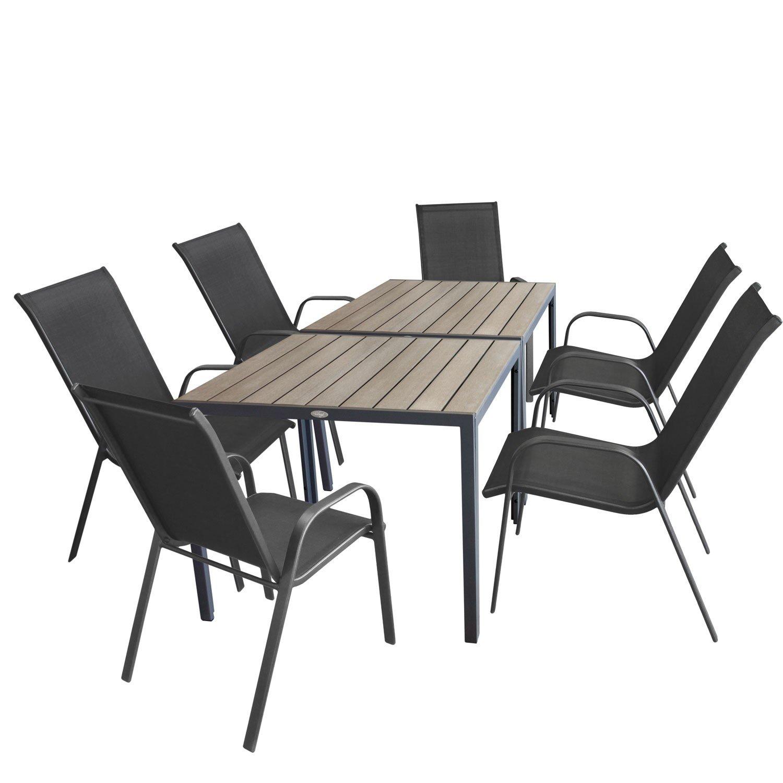 8tlg. Gartengarnitur - 2 x Aluminium Gartentisch 90x90cm, Polywood Tischplatte grau + 6x Stapelstuhl, Textilenbespannung Anthrazit, stapelbar - Gartenmöbel Sitzgruppe Sitzgarnitur