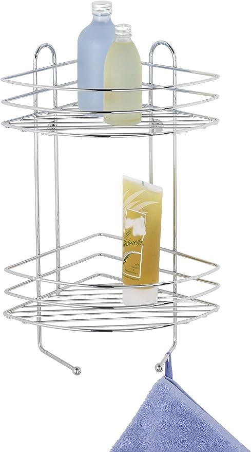 WENKO Exclusiv Estantería rinconera de baño 2 estantes - 2 repisas, Acero, 23 x 43 x 30.5 cm, Cromo