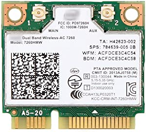 Dual Band Wireless-AC 7260 Mini PCI Express Card 802.11ac 2x2 Wi-Fi Bluetooth 4.0 PCIe Half WiFi Card for Laptop Window 7 8 8.1 10 Linux 2.4.x/2.6.x or Later