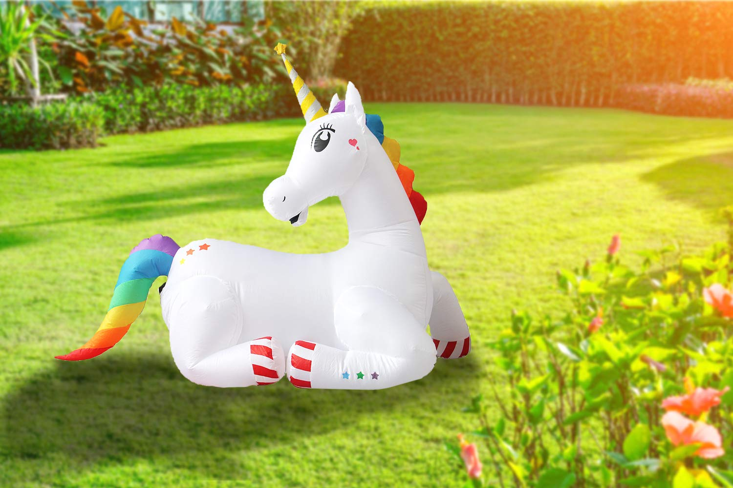 SEASONBLOW 5 Ft Inflatable Unicorn Sitting Indoor Outdoor Home Party Lawn Yard Garden Decoration
