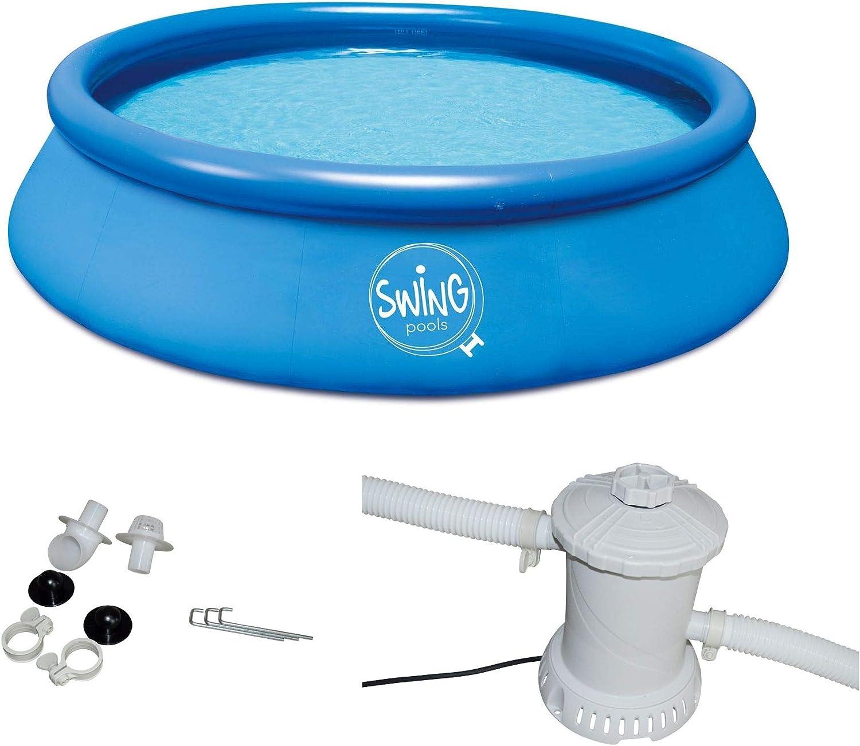 Swing Quick Up Easy Piscina sobre suelo Incluye Bomba de filtro, Azul, 366 x 91 cm: Amazon.es: Jardín