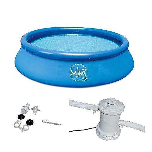 Swing Quick Up Easy Piscina sobre suelo Incluye Bomba de filtro, Azul, 366 x 91 cm