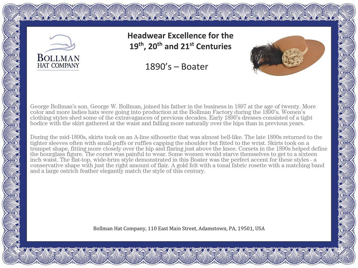 Bollman Hat Company Women 1890S Bollman Heritage Collection Boater Camel S/M