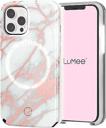 Lumee Halo By Case Mate Selfie Schutzhülle Für Iphone 12 Und Iphone 12 Pro 5g Vorder Und Rückseite Beleuchtung 6 1 Zoll Rotgold Weiß Marmor Elektronik
