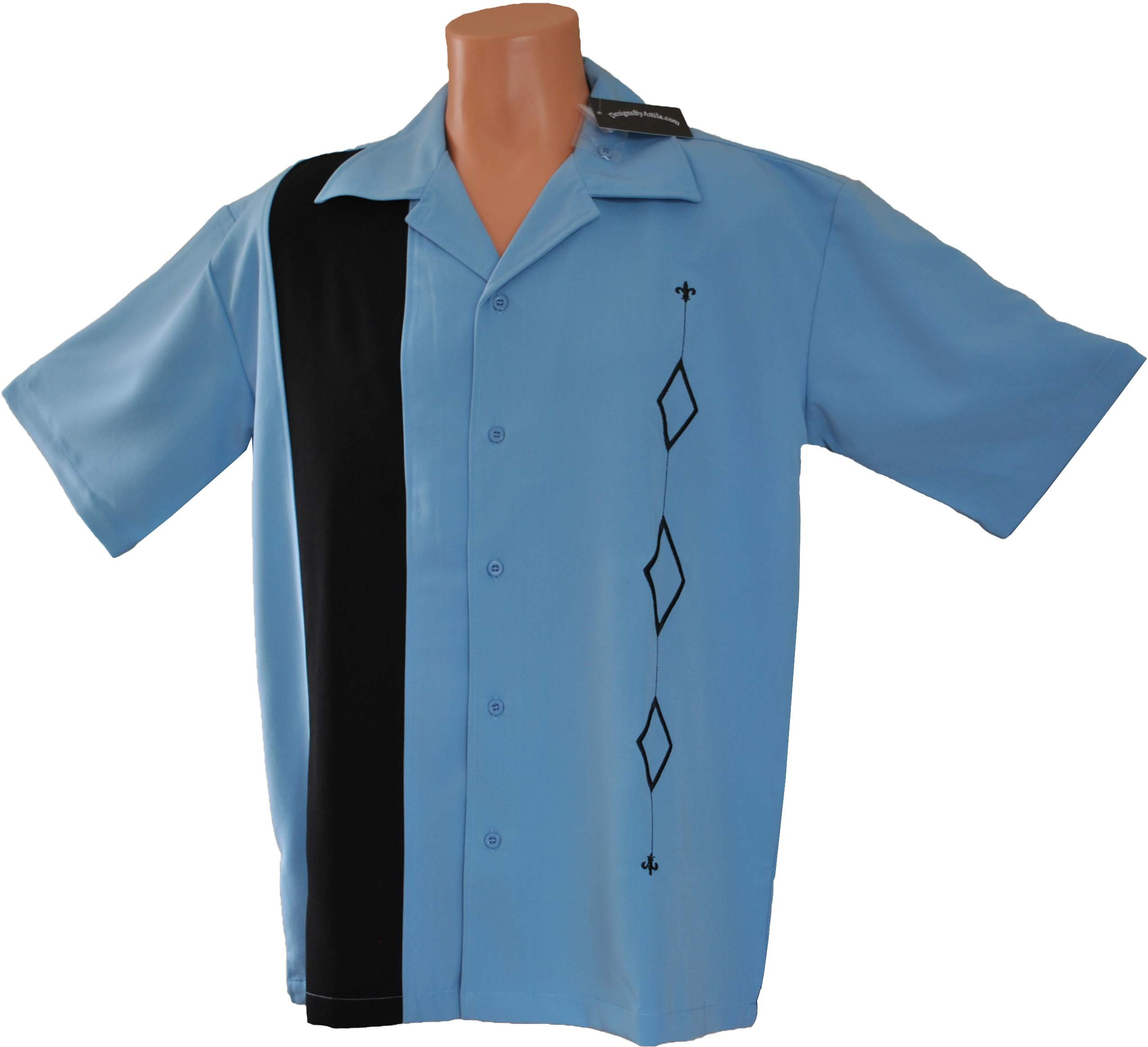 Designs by Attila Mens 2XLT Retro Bowling Shirt, BIG & TALL sizes. ALASKA BLUE by Designs by Attila (Image #2)
