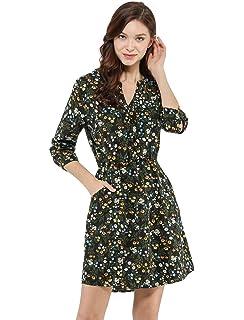 fa2f52b9d6 Allegra K Women s Floral Print Button Down V Neck 3 4 Sleeves Side Pockets  Vintage