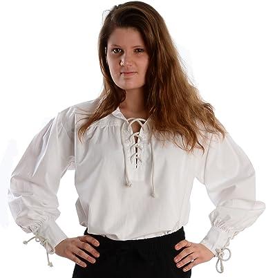 HEMAD Camisa Medieval de Las Mujeres con Cuello - Puro algodón - Blanco XXXL: Amazon.es: Ropa y accesorios