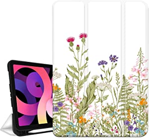 Hi Space iPad Air 4th Generation Case Flower Floral with Pencil Holder 2020 iPad 10.9 White Case Litter Flower for Women Girl, Pretty Trifold Protective Shockproof Cover Auto Sleep Wake for A2072
