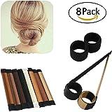 Bun Maker, ESARORA 8 PCS Hair Styling Maker DIY Women Girls Perfect Hair Bun Making Styling French Twist Donut Bun Hairstyle Tool