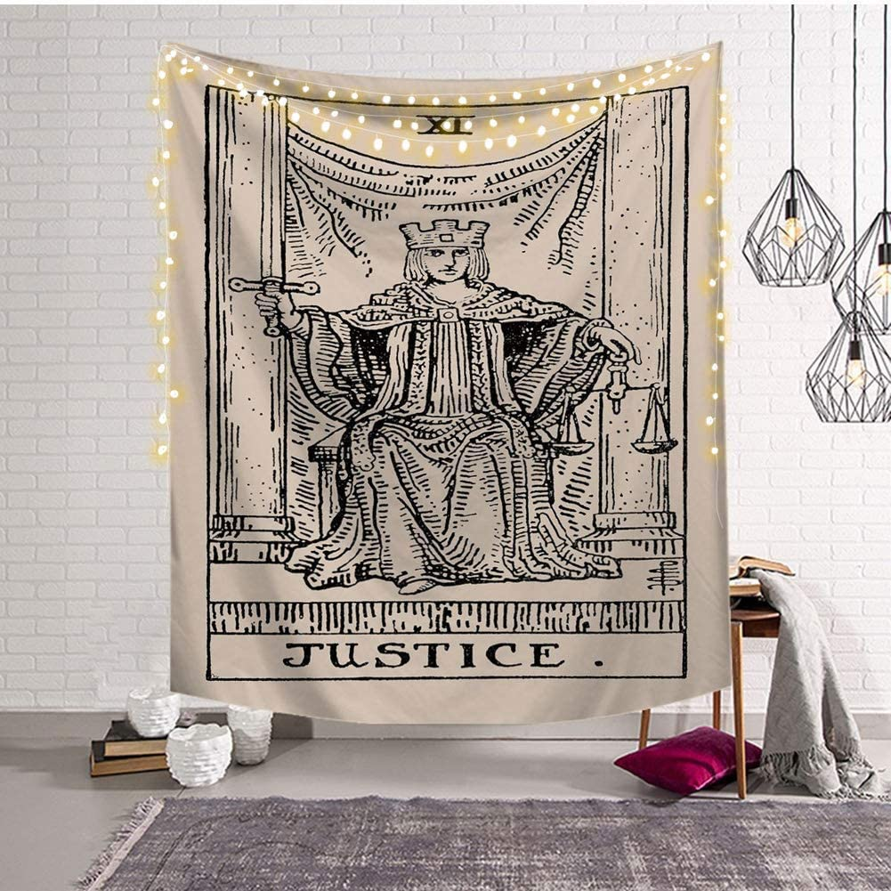 Third Goddess Tarot Tapestry, Justice Style Design Decorative Wall Hanging Art Sets 50 x 60 Inches for Home Office & Dorm Decor (Justice)