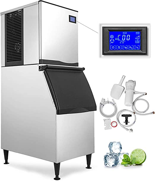 200KG//440LBS Commercial Ice Cube Maker Machine Supermarkets Refrigeration 850W