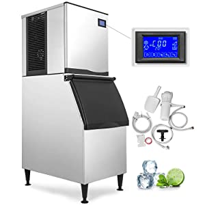 VEVOR 110V Commercial Ice Maker 400 LBS in 24 Hrs with 350LBS Storage 156 Cubes LCD Control Auto Clean for Bar Home Supermarkets Restaurant, Includes Scoop and Connection Hose