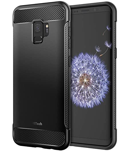 the latest c2bf3 2c63b JETech Case for Samsung Galaxy S9, Protective Cover with Shock-Absorption  and Carbon Fiber Design, Black