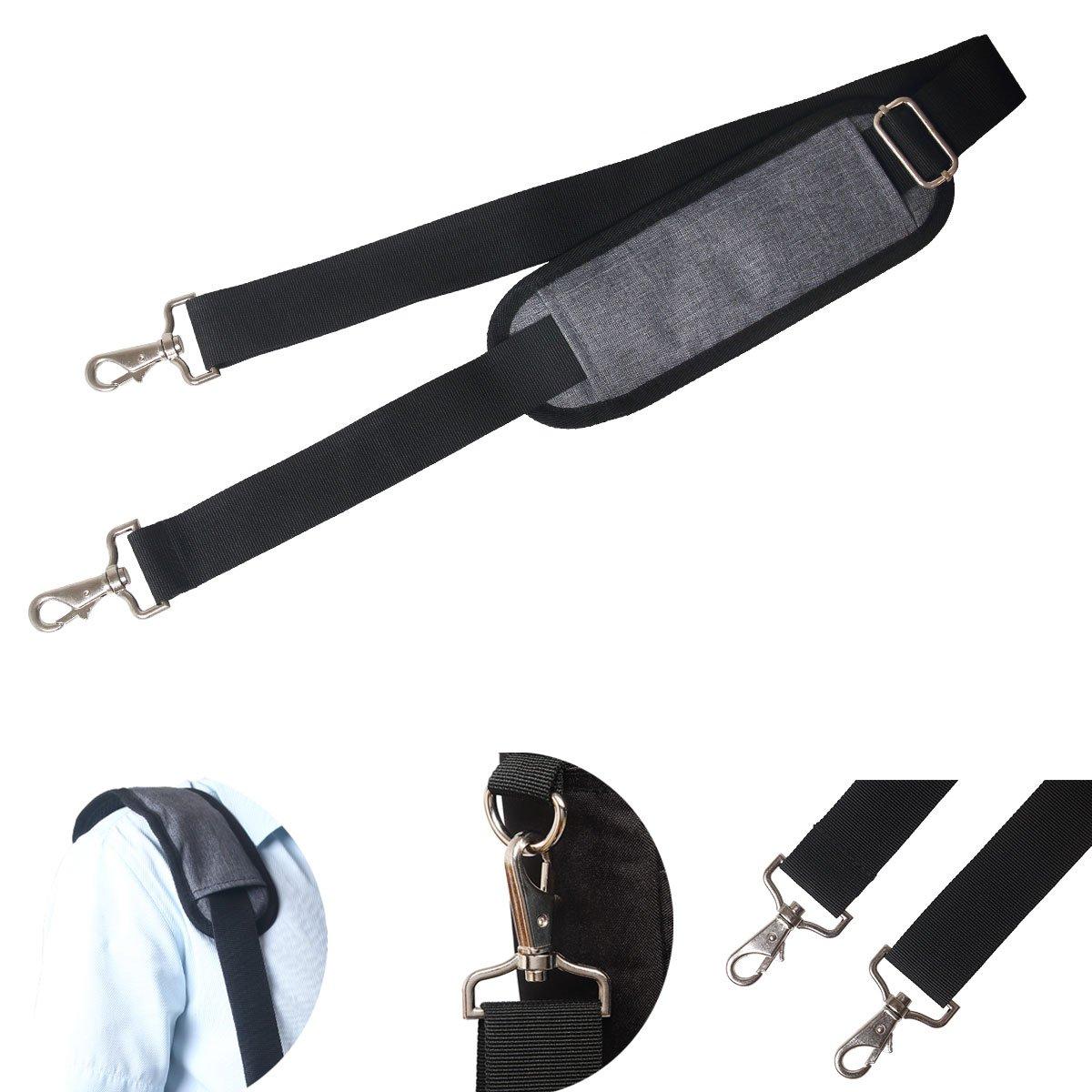 JAKAGO 150cm Universal Replacement Shoulder Straps Adjustable Bag Straps with Metal Swivel Hooks and Non-Slip Pad for Duffel Bag Laptop Briefcase Violin Bag Camera Travel Bag (Grey)