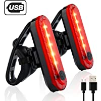 Gretrue Luz Trasera para Bicicleta Recargable USB [2 Piezas] Potente LED Faro Trasero Bici Recargable, Luz Trasera Bici Impermeable Cola luz 4 Modos de Brillo