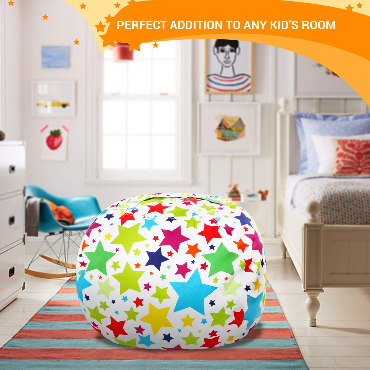 Stuffed Animal Storage Bean Bag - Cover Only - Large Beanbag Chairs for Kids - 90+ Plush Toys Holder and Organizer for Boys and Girls - 100% Cotton Canvas - Holiday Stars by 5 STARS UNITED (Image #8)