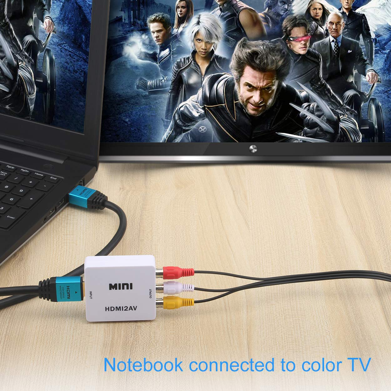 Convertitore HDMI-AV 1080P Convertitore Adattatore Audio Video DVC da HDMI a RCA per HDTV-Bianco