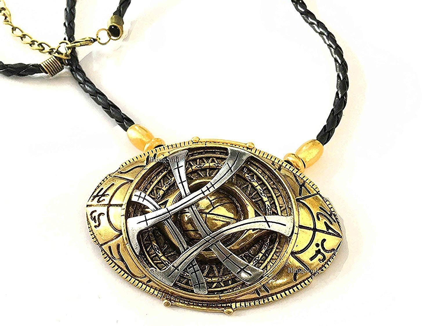 BlingSoul Eye of Agamotto Necklace Jewelry Gift - Doctor Strange Amulet for Girls (Large)