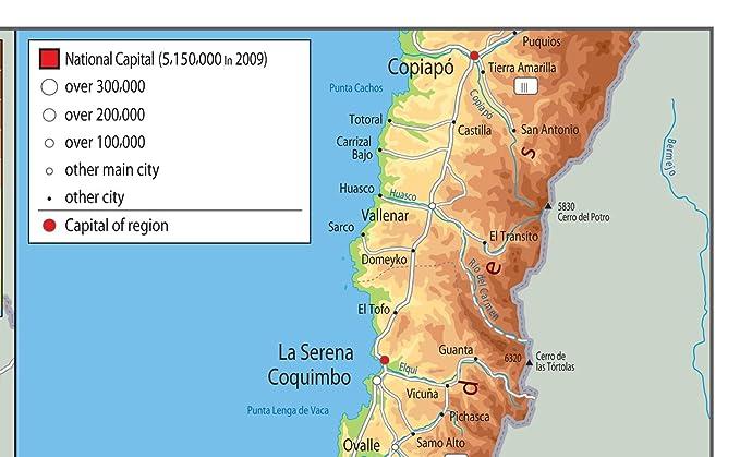 Chile Mapa física - papel laminado [ga], color transparente A2 Size 42 x 59.4 cm: Amazon.es: Oficina y papelería